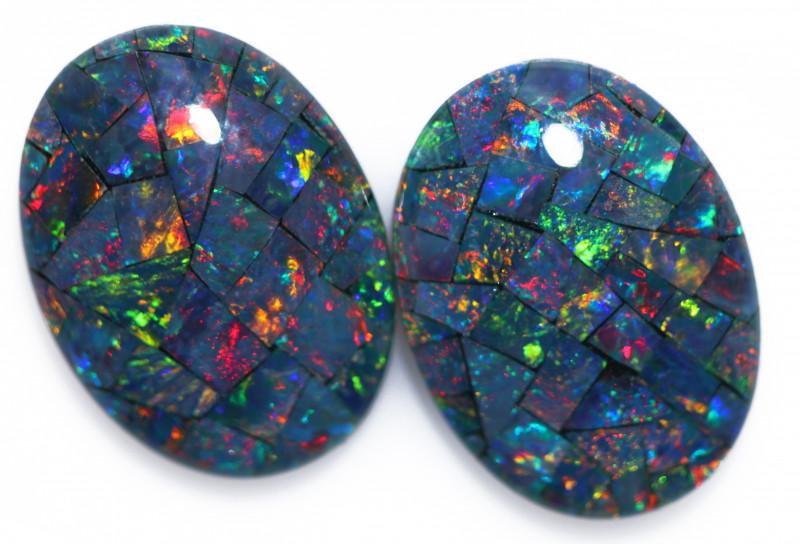 10.5 Cts Australian Pair Oval Opal Triplet Mosaic  FO 1369