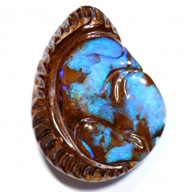 132 CTS TOW SIDE  BOULDER OPAL POLISHED STONE WITH CARVING  [CS631]