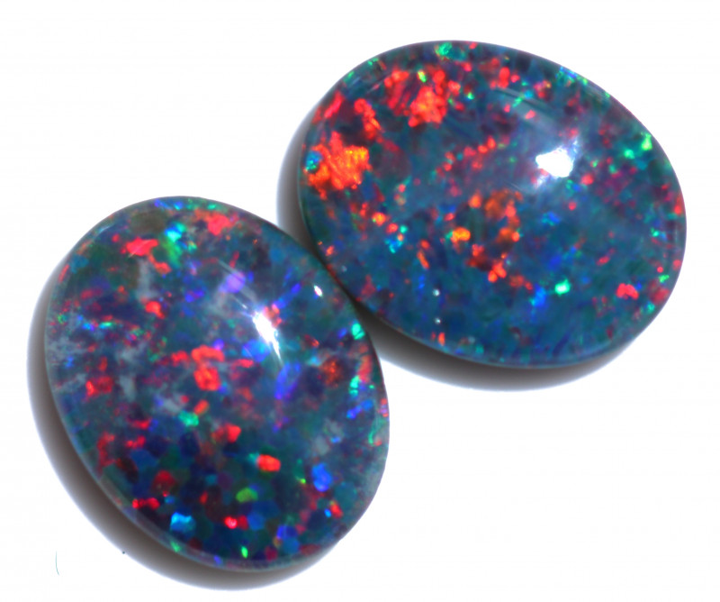 2.5 Cts Australian Triplet Opals Pairs 9x7mm FO 1457