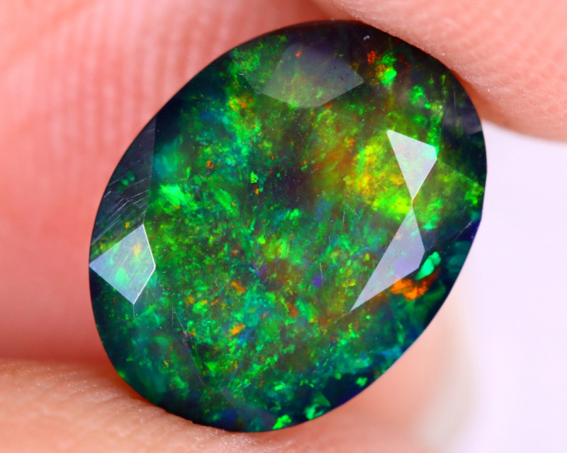 1.66cts Natural Ethiopian Welo Faceted Smoked Opal / NY2622