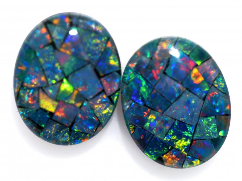 3.3 Cts Pair Australian Opal Triplet Mosaic  FO 1496