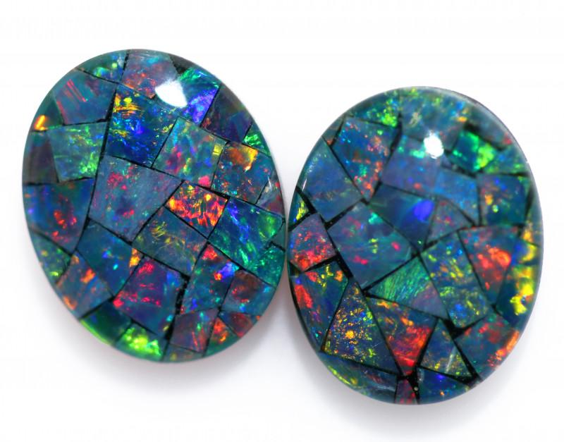 3.3 Cts Pair Australian Opal Triplet Mosaic  FO 1498