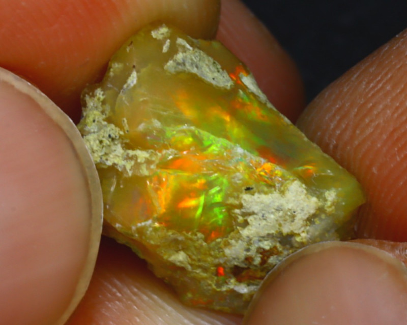 7.88Ct Multi Color Play Ethiopian Welo Opal Rough H2817/R2