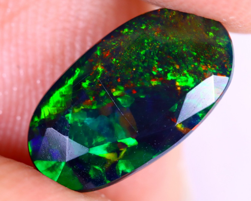1.17cts Natural Ethiopian Welo Faceted Smoked Opal / NY2746