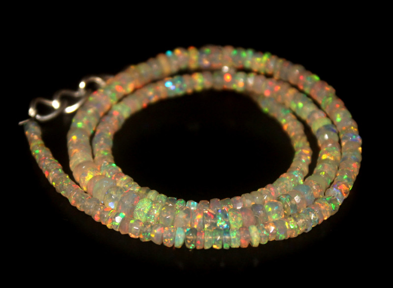 36.20 Crts Natural Welo Faceted Opal Beads Necklace 317