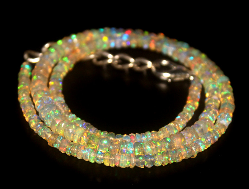 39.55 Crts Natural Welo Faceted Opal Beads Necklace 306