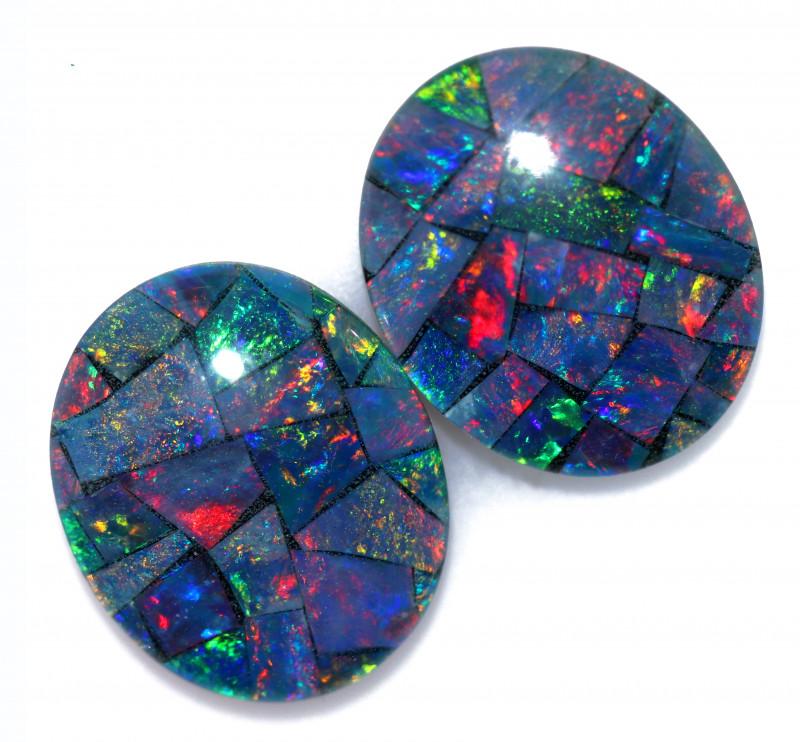 6.2 Cts Pair Australian Opal Triplet Mosaic  FO 1541