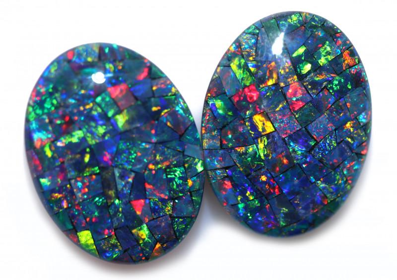 21 Cts Pair Australian Opal Triplet Mosaic  FO 1564