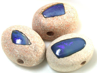 PARCEL 3 CABOCHON OPAL INLAY   BEADS   33   CTS  R 1436