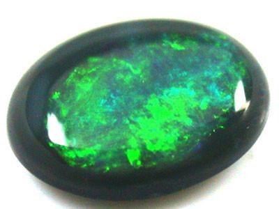 BRIGHT OLIVE GREEN  BLACK OPAL .45   CARATS   QO 2230