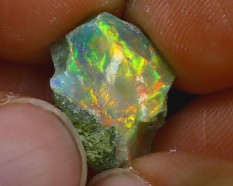 7.46Ct Multi Color Play Ethiopian Welo Opal Rough J1509/R2