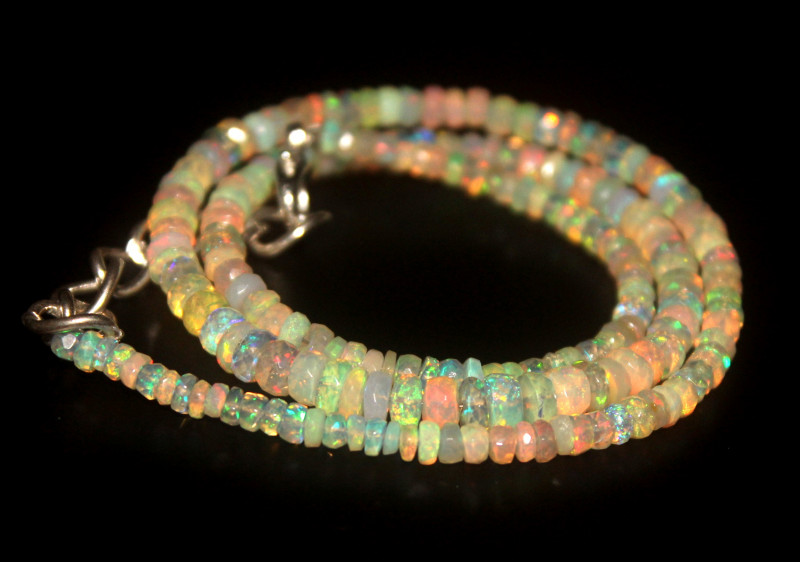 39 Crts Natural Welo Faceted Opal Beads Necklace 315