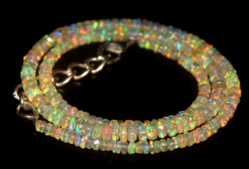 37.20 Crts Natural Welo Faceted Opal Beads Necklace 465