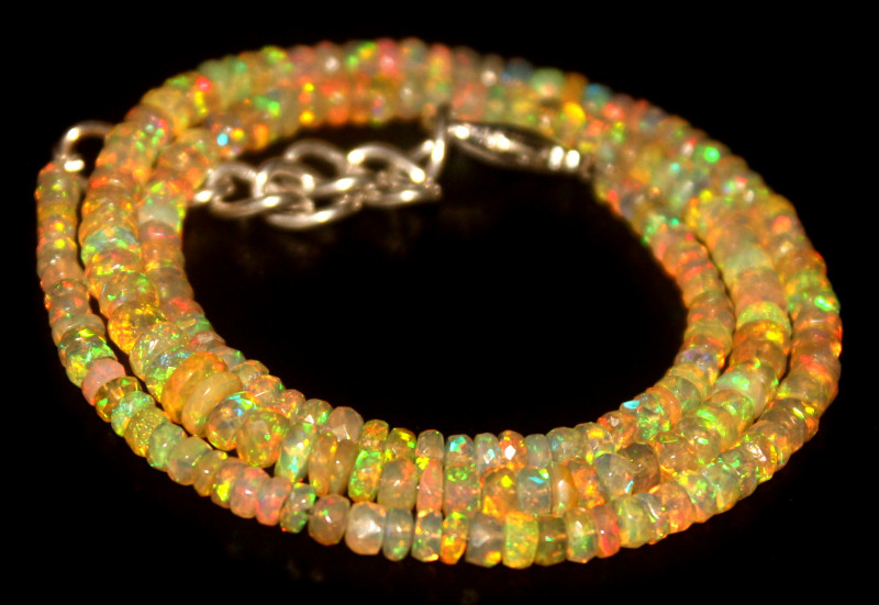 38.35 Crts Natural Welo Faceted Opal Beads Necklace 468