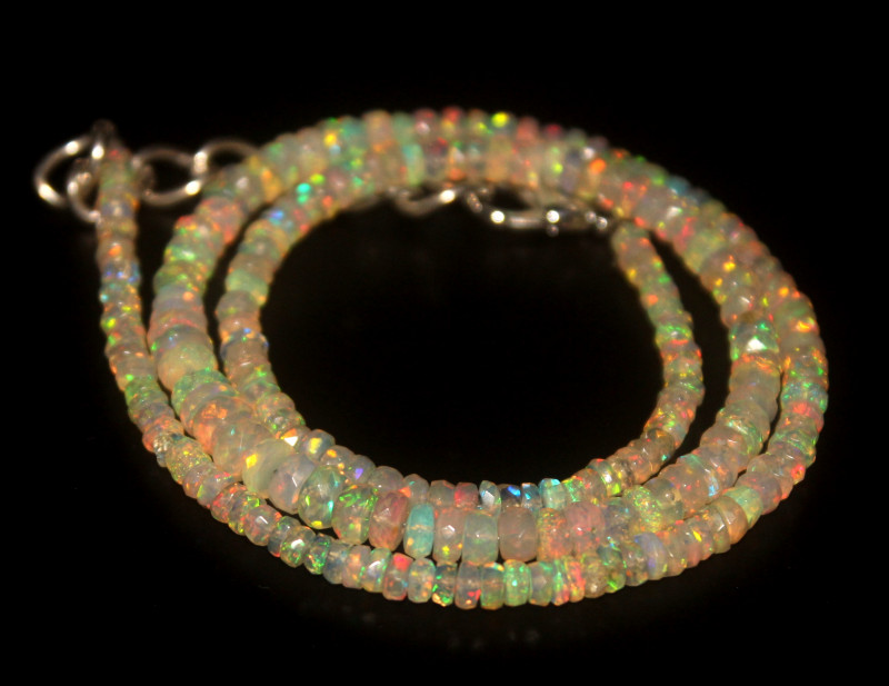 36.25 Crts Natural Welo Faceted Opal Beads Necklace 285