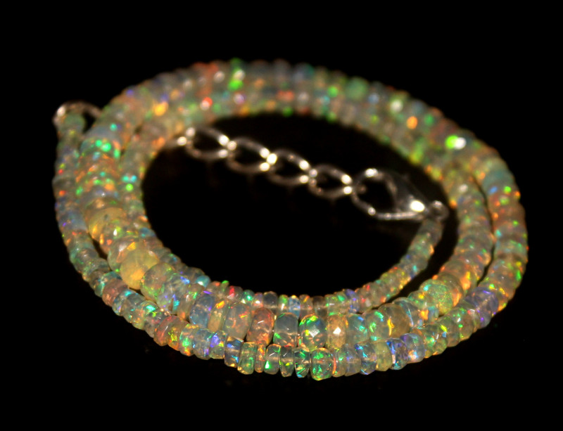 42 Crts Natural Welo Faceted Opal Beads Necklace 288