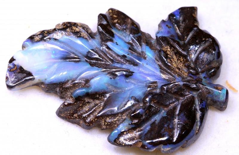 28.40cts Boulder Opal  Leaf Carving LO-6835  lightningopals