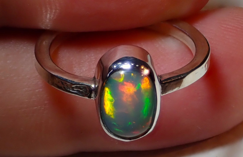 $1 NR Auction 6.25size Natural Ethiopian Welo Opal .925 Sterling Silver