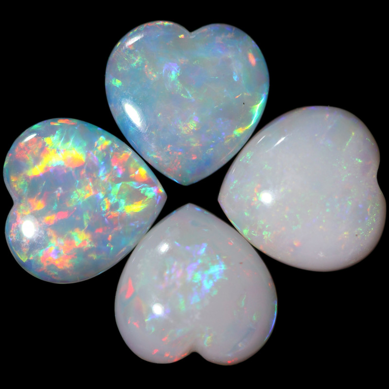 2.96 CTS FIRE WHITE OPAL HEART SHAPE CALIBRATED PARCEL [CP7690]