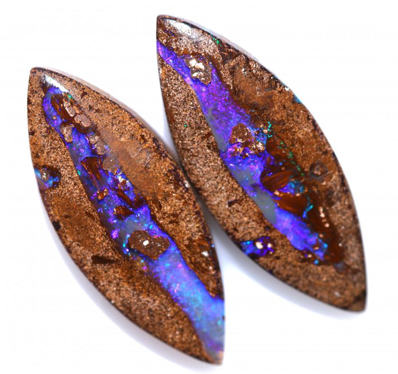 23.17 cts  Boulder Pipe  Opal Pair from Jundah  [FJP4624]