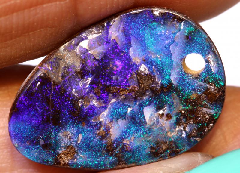 9.70 Carats Boulder Opal Pre Drilled  Ro-1765    raniopals