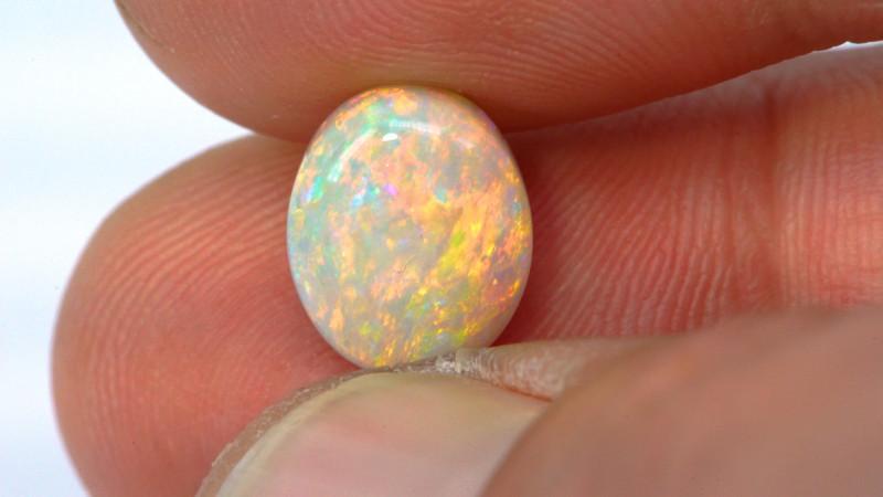 3.65ct Crystal Opal Cabochon Gem Floral Stripes Broad Flash