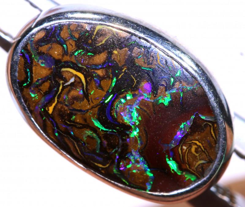 5.85 CTS -YOWAH OPAL EARRING UNISEX - SILVER OF-2854