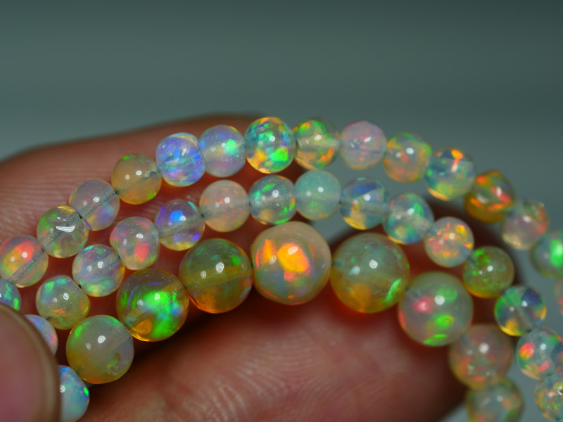 30.795 CRT BEAUTIFUL OPAL BALLS NECKLACE MULTI PLAY COLOR WELO OPAL-