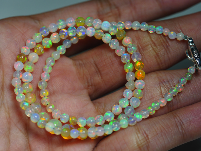32.285 CRT BEAUTIFUL OPAL BALLS NECKLACE MULTI PLAY COLOR WELO OPAL-