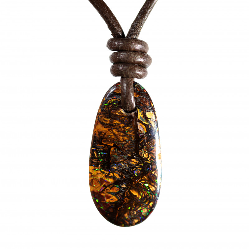 17 CTS BOULDER OPAL PENDANT  WITH LEATHER COARD [CP154]