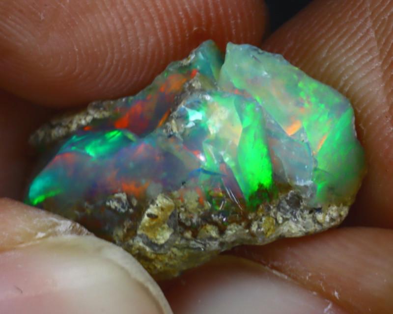 9.97Ct Multi Color Play Ethiopian Welo Opal Rough H0906/R2
