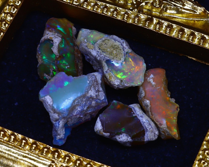 SALES 45.00Ct Multi Color Play Ethiopian Welo Opal Rough Lot G1003/R2