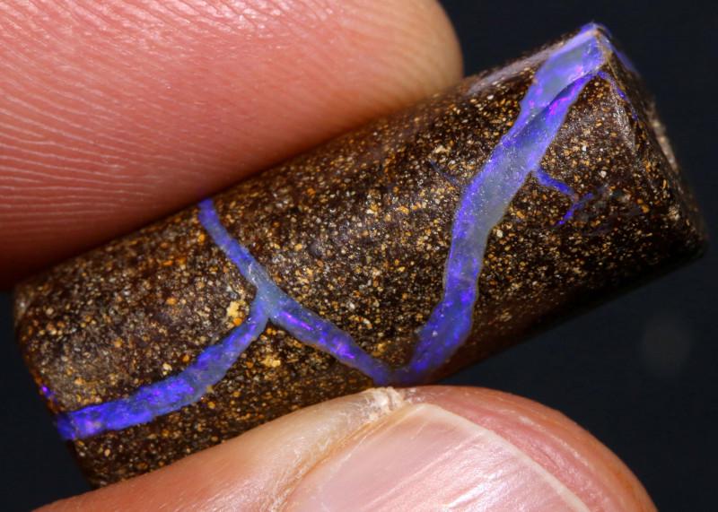 Boulder Opal Barrel Bead   AOH-761   -australianopalhunter