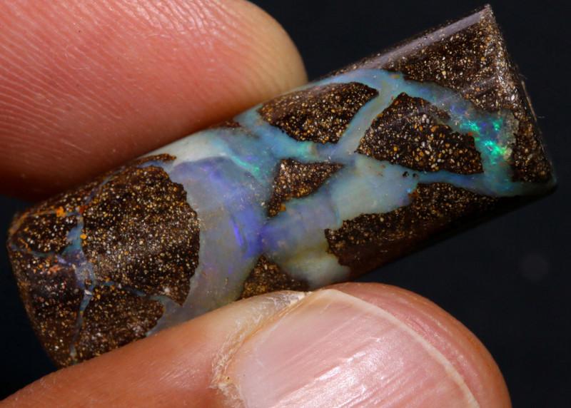 Boulder Opal Barrel Bead   AOH-776   -australianopalhunter