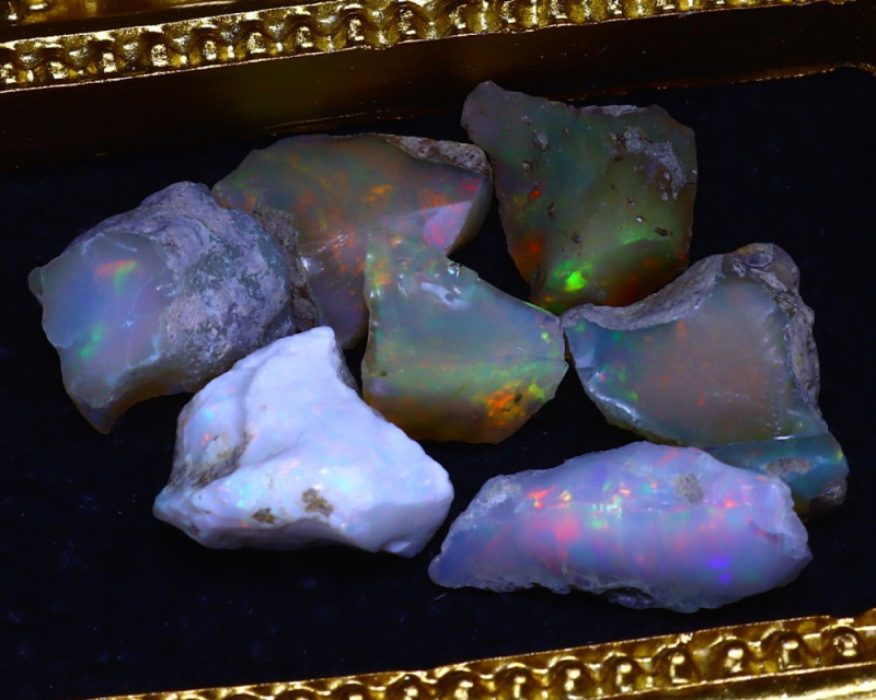 SALES 42.30Ct Multi Color Play Ethiopian Welo Opal Rough Lot G1102/R2