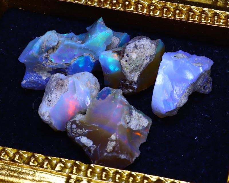 SALES 43.36Ct Multi Color Play Ethiopian Welo Opal Rough Lot G1502/R2