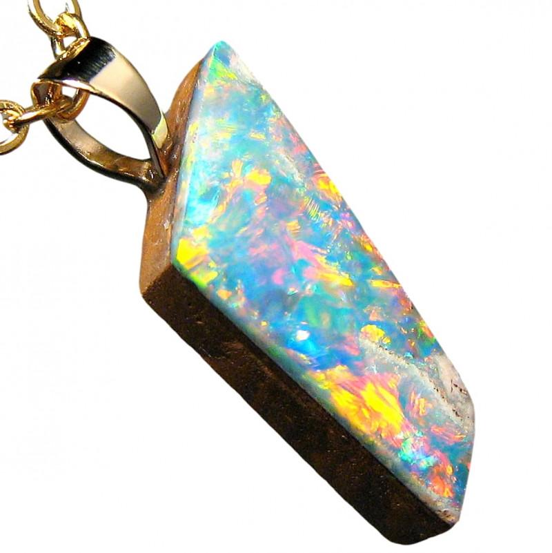 Cute Bright Australian Opal Pendant 14k Gold Doublet 2.75ct