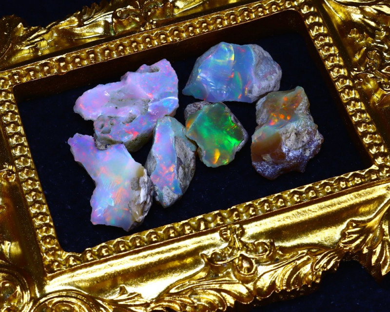 SALES 45.70Ct Multi Color Play Ethiopian Welo Opal Rough Lot G2202/R2