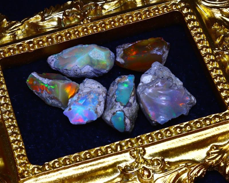 SALES 43.96Ct Multi Color Play Ethiopian Welo Opal Rough Lot G2410/R2