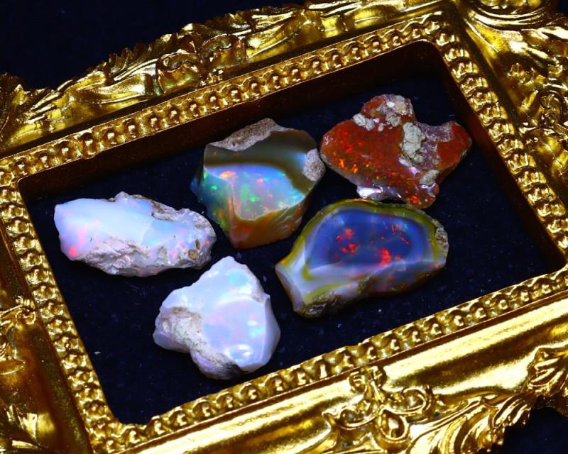 SALES 43.74Ct Multi Color Play Ethiopian Welo Opal Rough Lot G2505/R2