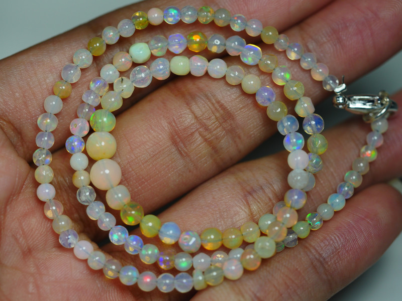 29.815 CRT BEAUTIFUL OPAL BALLS NECKLACE MULTI PLAY COLOR WELO OPAL-