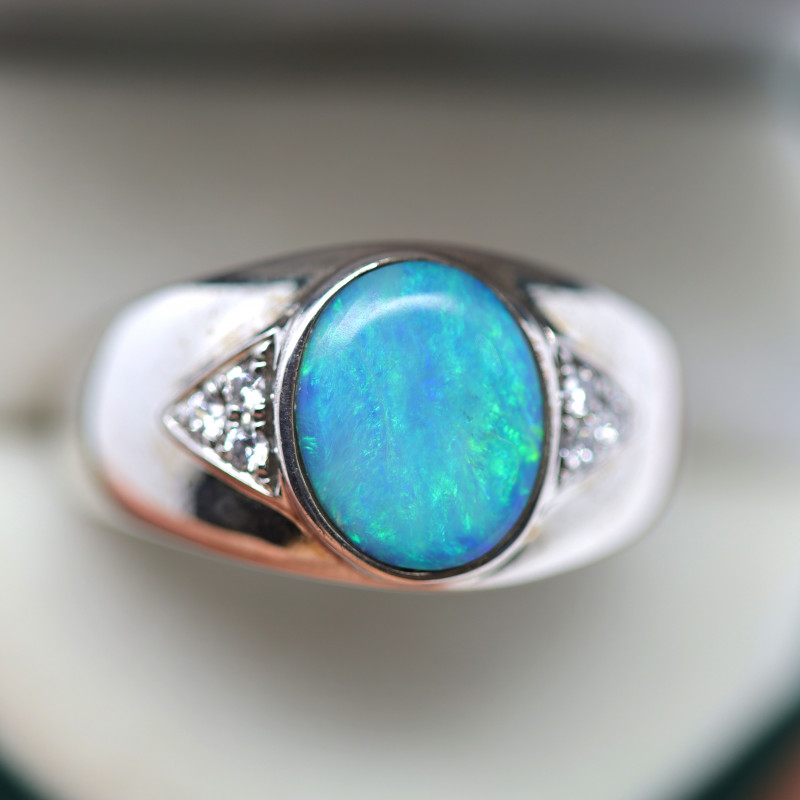 925 ST/ SILVER RHODIUM PLATED SOLID OPAL RING [FR109]
