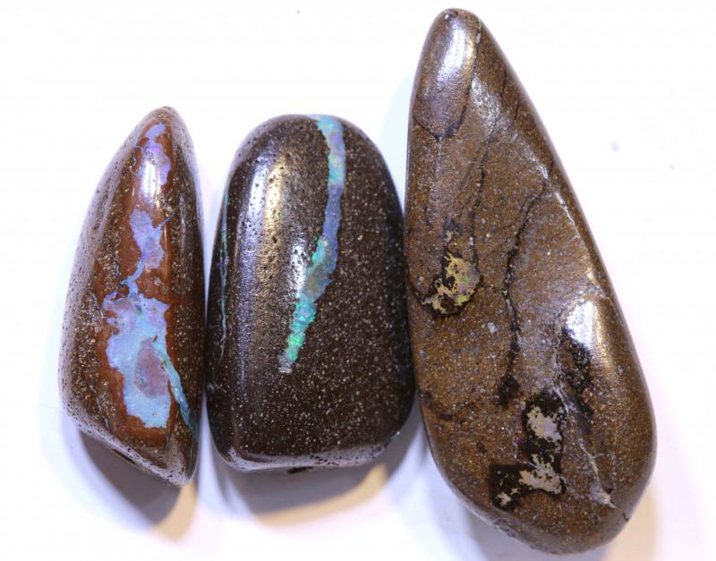 47.55 CTS-Boulder Opal Bead Parcel 3- pcs  Ro-2039  raniopals