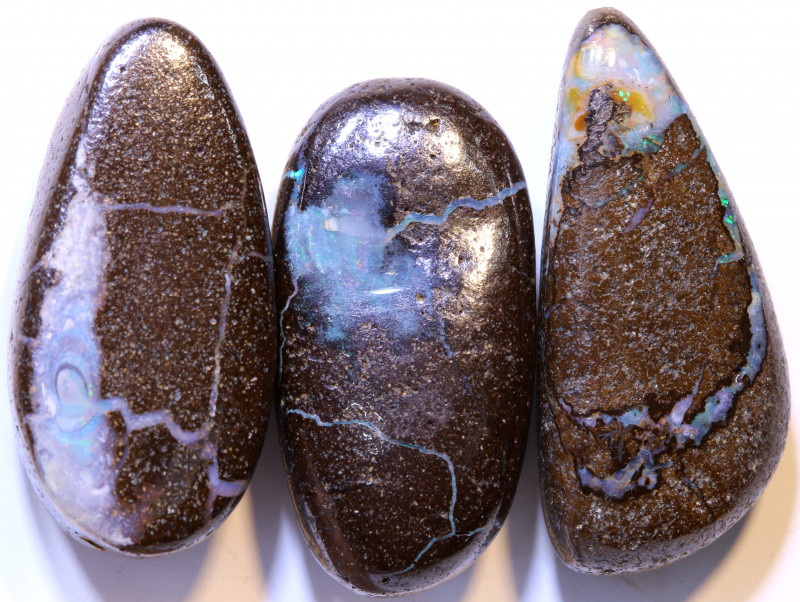 52.65 CTS-Boulder Opal Bead Parcel 3- pcs  Ro-2044  raniopals
