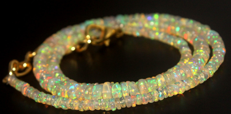 34.95 Crts Natural Ethiopian Welo Opal Beads Necklace 724