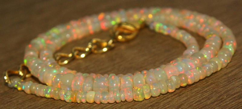 33.90 Crts Natural Ethiopian Welo Opal Beads Necklace 727