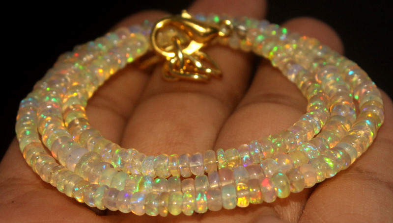 34.55 Crts Natural Ethiopian Welo Opal Beads Necklace 733