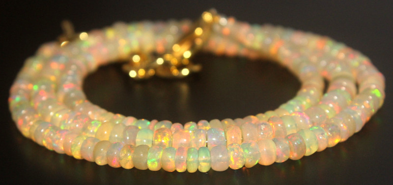 35.55 Crts Natural Ethiopian Welo Opal Beads Necklace 735