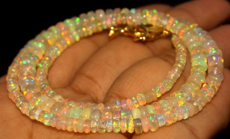 40 Crts Natural Ethiopian Welo Opal Beads Necklace 736