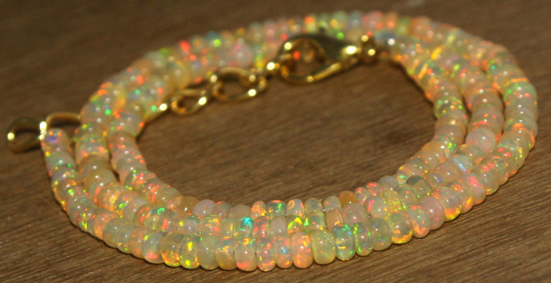 34.50 Crts Natural Ethiopian Welo Opal Beads Necklace 742
